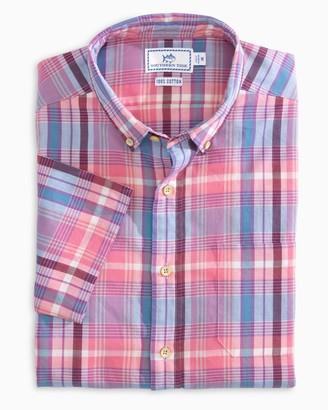 Southern Tide Leeward Madras Short Sleeve Button Down Shirt
