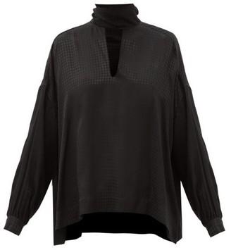 Balenciaga Tie-neck Houndstooth-jacquard Blouse - Black