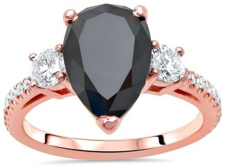 Overstock 14k Rose Gold 3 ct Black Diamond Pear Shape 3 Stone Engagement Ring