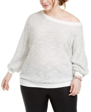 1 STATE Trendy Plus Size Off-The-Shoulder Eyelash Sweater