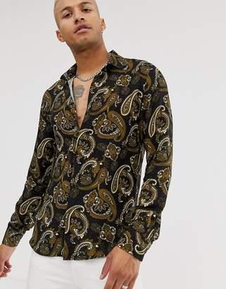 Bolongaro Trevor paisley long sleeve shirt-Black