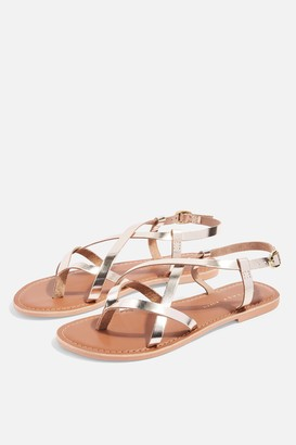 Topshop WIDE FIT HAZEL Gold Flat Sandals