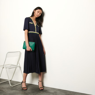 Sandro Long pleated dress with short sleeves