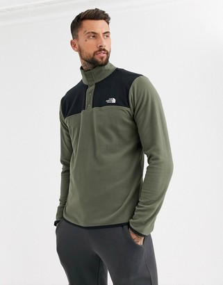 The North Face TKA Glacier snap neck pullover fleece in khaki