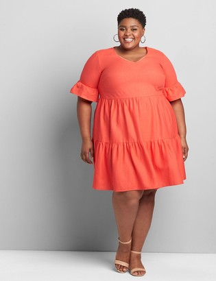 Lane Bryant Perfect Sleeve Tiered Swing Dress