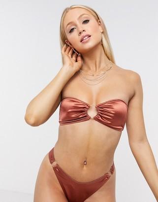 South Beach ring bandeau bikini top in high shine rust