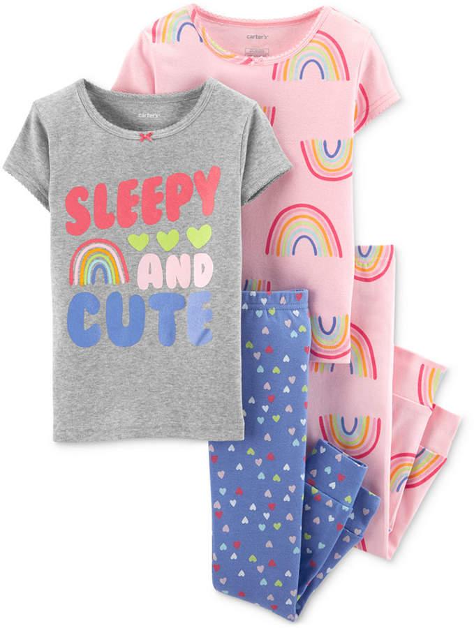 Carter's Carter Toddler Girls 4-Pc. Cotton Printed Pajamas Set