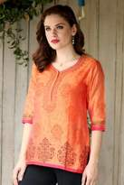 Chanderi Tunic Hand Block Printed Cotton Silk Blend, 'Tangerine Temptress'