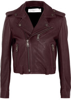 Victoria, Victoria Beckham - Cropped Leather Biker Jacket - Burgundy