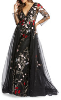 Mac Duggal 6-Week Shipping Lead Time Floral Embroidered Long-Sleeve Plunging Neck Gown