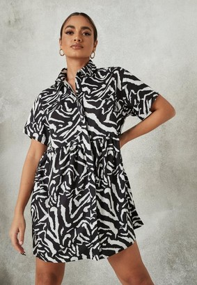 Missguided Black Zebra Print Shirt Smock Dress