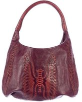 Devi Kroell Snakeskin Embellished Leather Hobo