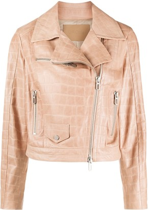 Drome Crocodile-Effect Biker Jacket