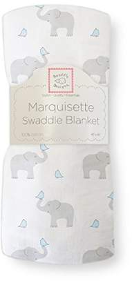 Swaddle Designs Marquisette Swaddling Blanket, Premium Cotton Muslin, Elephant & Chickies, Pastel Blue