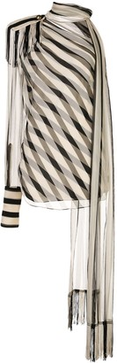 Monse Regalia striped chiffon scarf blouse