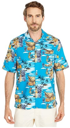 Original Penguin Tiki Print Shirt (Caribbean Sea) Men's Clothing