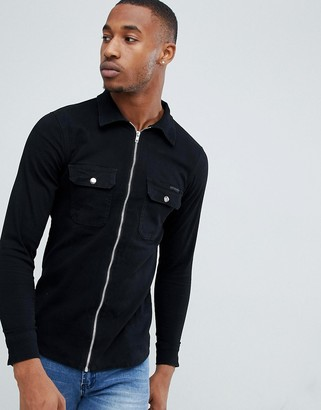 Liquor N Poker shirt with zip cuff in washed black