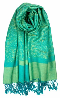 Plum Feathers Two Tone Vintage Paisley Pattern Pashmina Scarf - Green - One Size