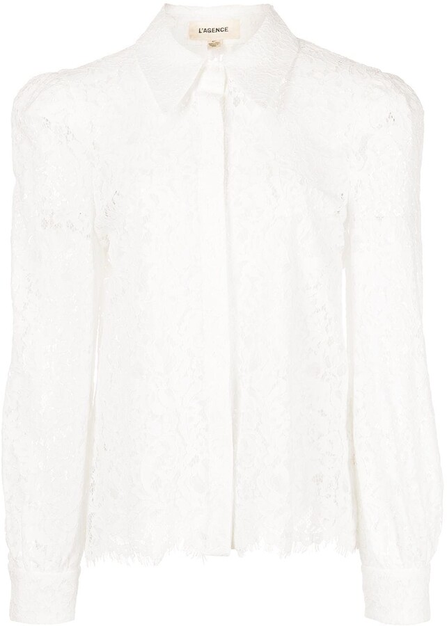 Thumbnail for your product : L'Agence Jenica floral-lace shirt