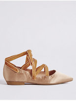 M&S Collection Lace-up Pointed Satin Pump Shoes