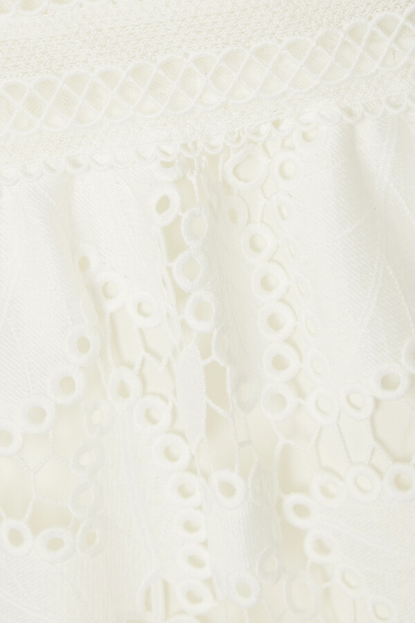 Thumbnail for your product : Monique Lhuillier Tiered Guipure Lace Maxi Dress - White