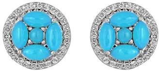 Jewelili Sterling Silver Gemstone Stud Earring
