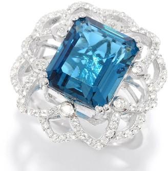 Pinctore Sterling Silver 7.49ctw London Blue Topaz & Gemstone Flower Ring