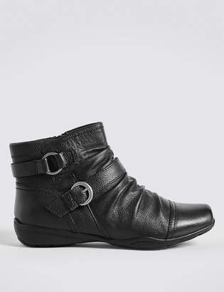 M&S CollectionMarks and Spencer Wide Fit Leather Wedge Ruched Ankle Boots