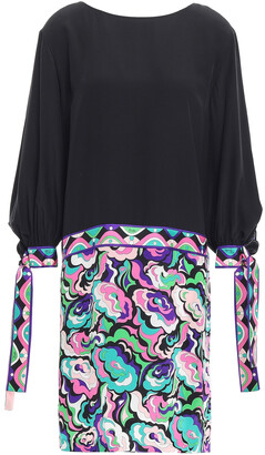 Emilio Pucci Paneled Printed Silk Crepe De Chine Mini Dress