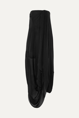 Jacquemus Asola Strapless Draped Georgette Maxi Dress - Black