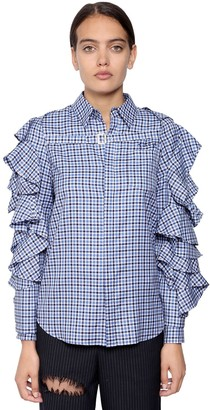 Facetasm Cotton Plaid Shirt W/ Detachable Shrug