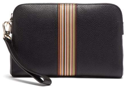 Paul Smith Signature Stripe Grained Leather Pouch Bag - Mens - Black