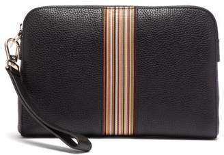Paul Smith Signature Stripe Grained Leather Pouch Bag - Mens - Black