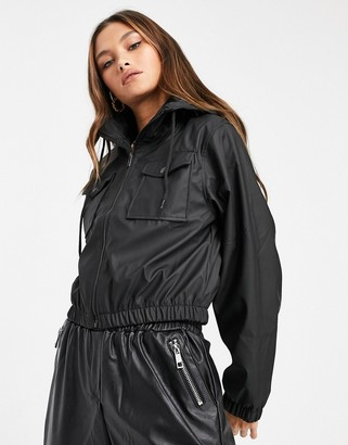 Qed London PU cropped zip through jacket in black