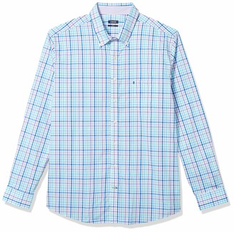 Izod Men's Big & Tall Fit Button Down Long Sleeve Stretch Performance Gingham Shirt