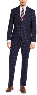 Kenneth Cole Reaction Men's Slim-Fit Techni-Cole Stretch Navy Windowpane Suit, Created for Macy's