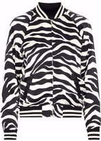 R 13 Zebra-Print Silk Bomber Jacket