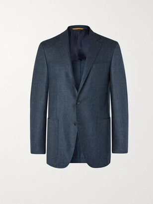 Canali Kei Slim-Fit Unstructured Herringbone Wool Blazer