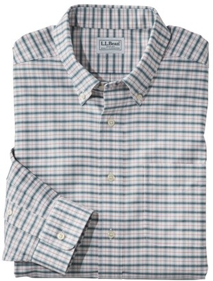 L.L. Bean Men's Wrinkle-Free Classic Oxford Cloth Shirt, Long-Sleeve Plaid, Slightly Fitted