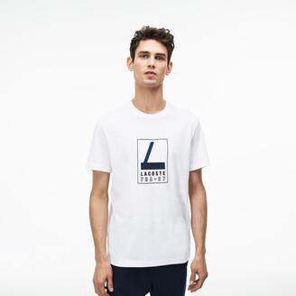 Lacoste Men's Crew Neck Rubber Lettering Soft Jersey T-shirt