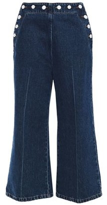 MSGM Cropped Button-detailed High-rise Wide-leg Jeans
