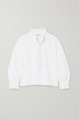 The Great The Victorian Tuxedo Pintucked Broderie Anglaise Cotton Blouse - White