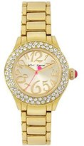 Betsey Johnson Gold Crystal Bezel Gold Dial Bling Watch
