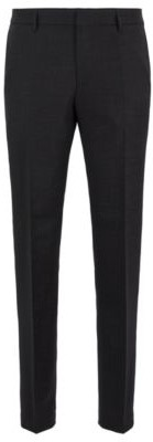 BOSS Micro-patterned slim-fit trousers in virgin wool