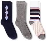 Merona Women's Crew Socks 3-Pack Argyle Xavier Navy One Size