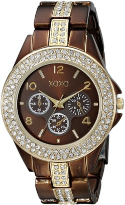 XOXO Women's XO5455 Rhinestone-Accent Chocolate Brown Analog Bracelet Watch