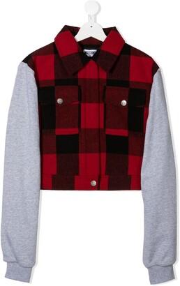 MOSCHINO BAMBINO TEEN logo check-patterned jacket