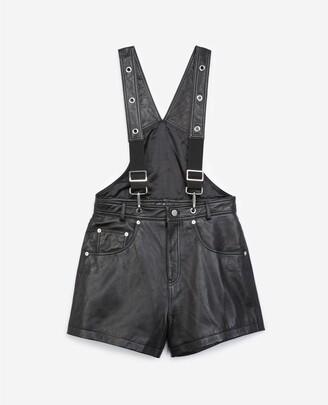 The Kooples Dungaree-style black leather playsuit