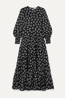 Rixo Pip Floral-print Tiered Fil Coupe Cotton Maxi Dress - Black