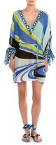 Emilio Pucci Dragonfly V-Neck Tie-Sleeve Tunic Top